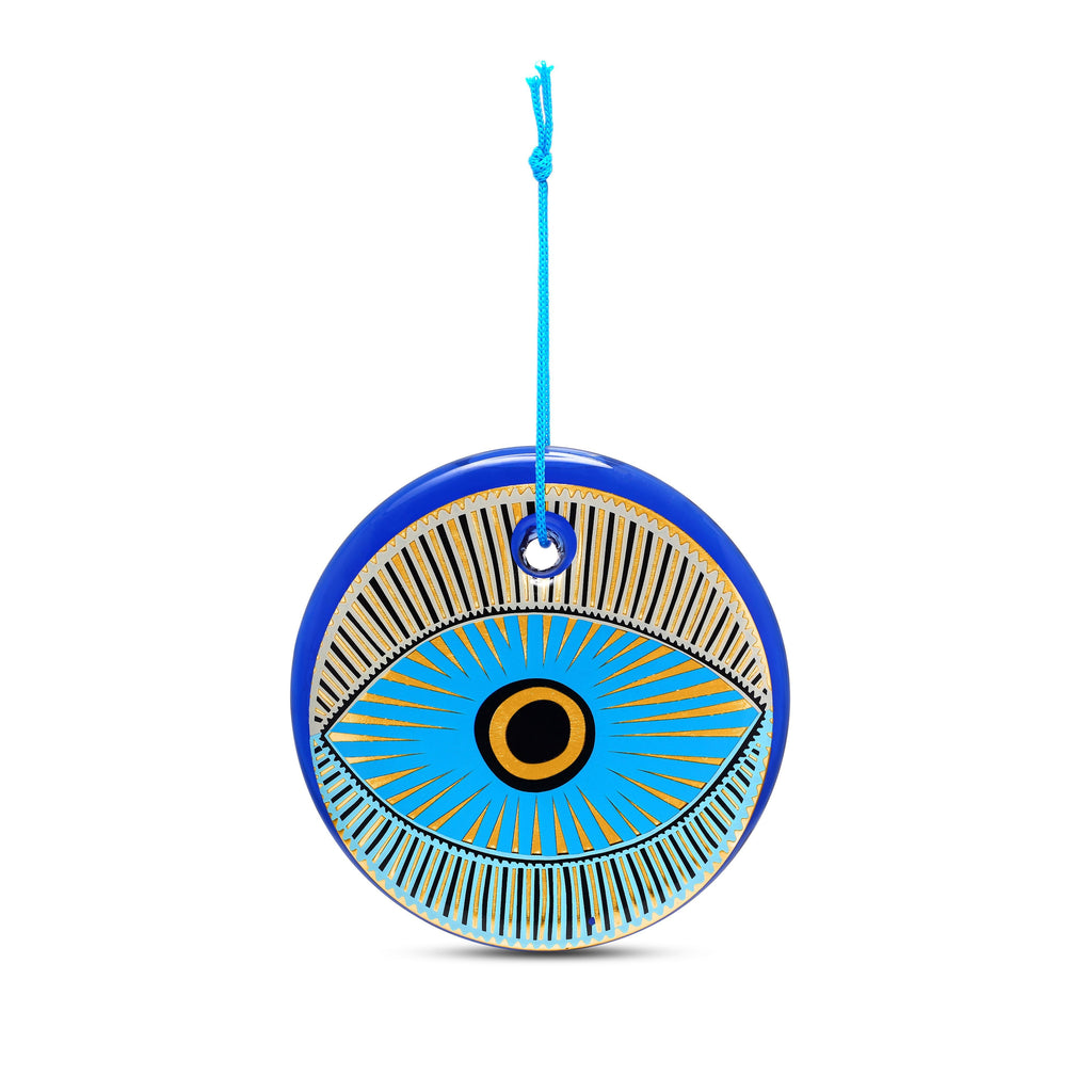 nazar blue and gold evil eye wall amulet