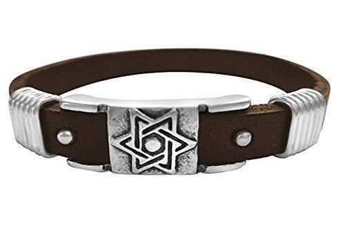 brown leather star of david bracelet