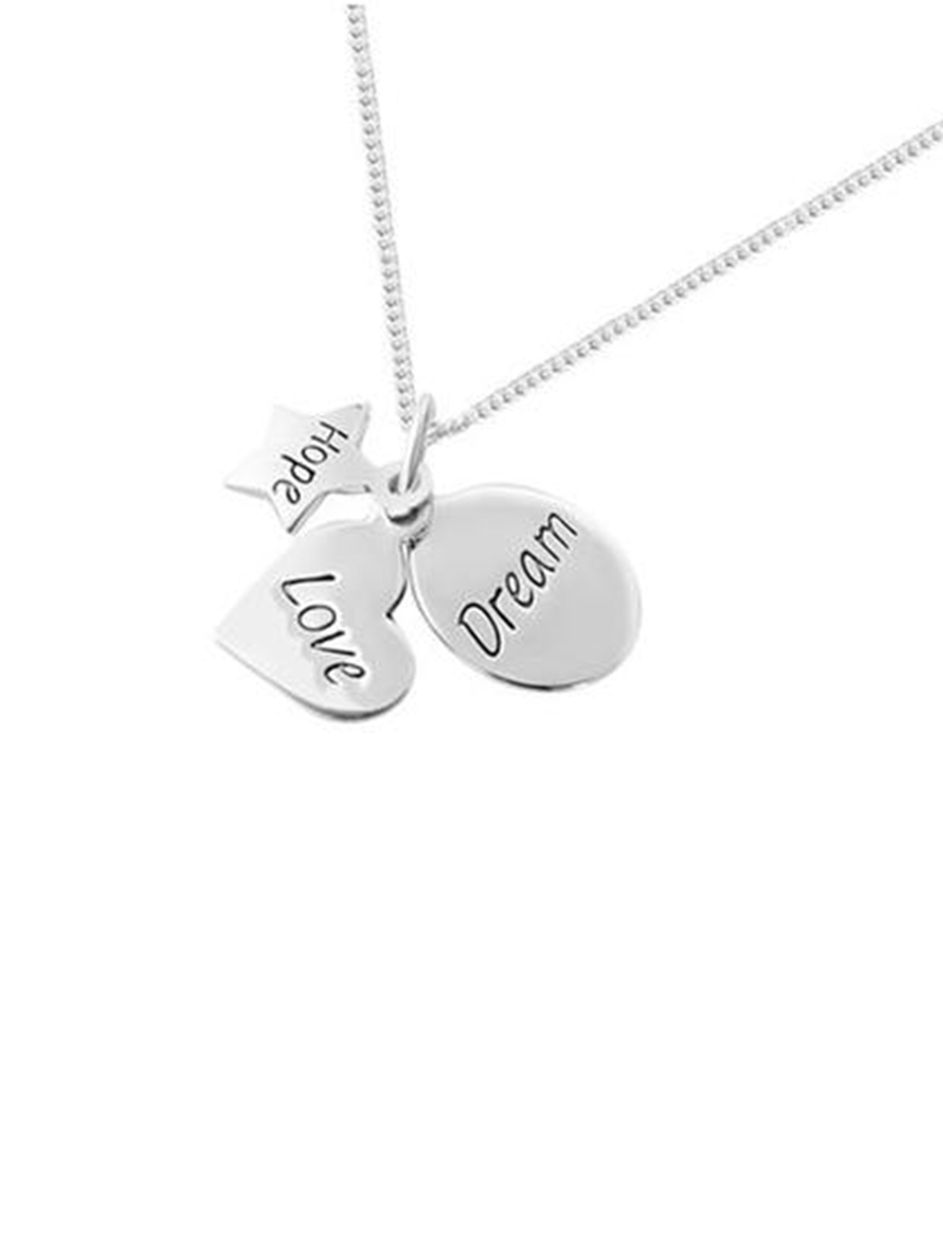 Dream Love Hope Necklace in Silver