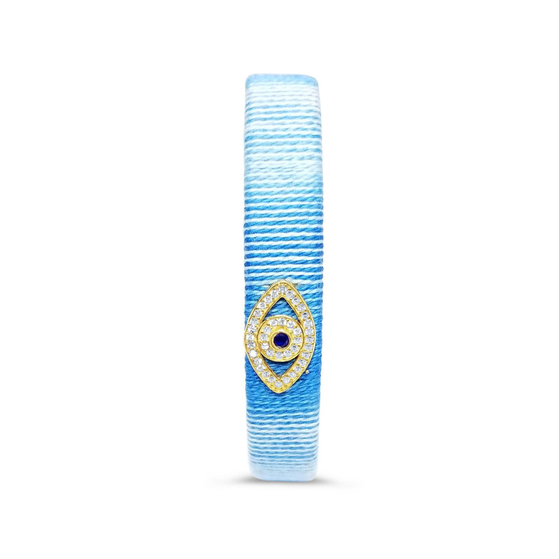 evil eye bracelet in gold and blue