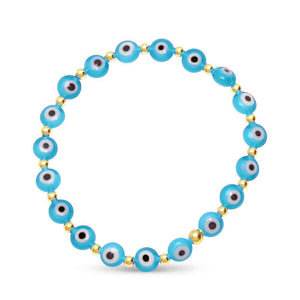 light blue mal de ojo bracelet