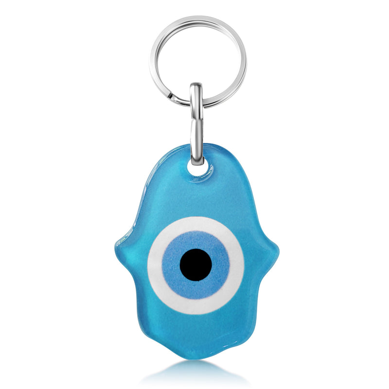 blue hamsa and evil eye amulet keychain