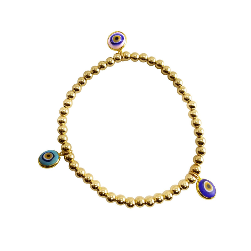 evil eye blue and pink bracelet on gold beads