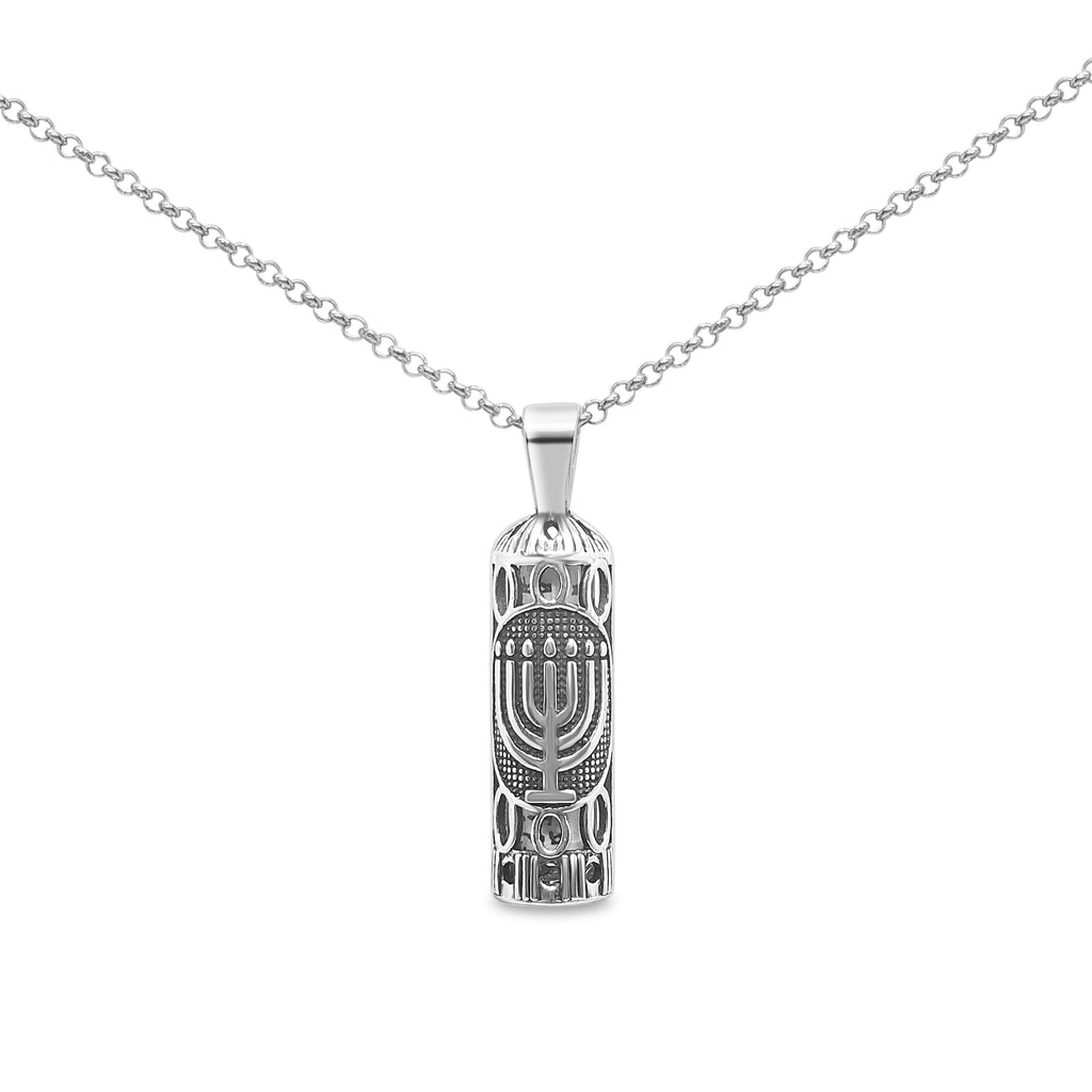 mezuzah with menorah israel charm