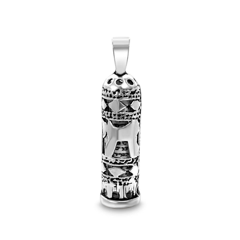 mezuzah charm with a chai symbol on a chain