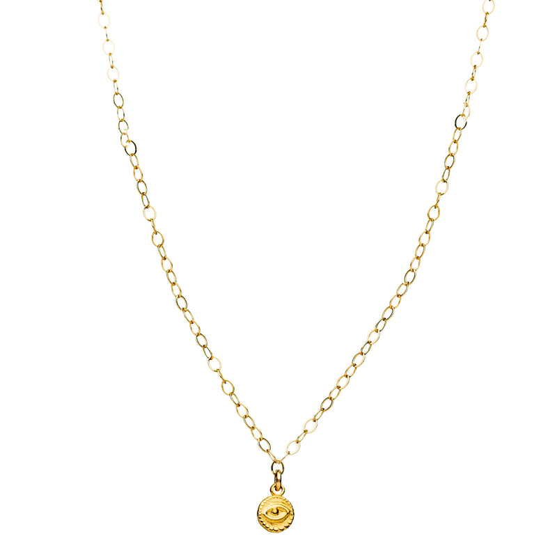 Tiny Disk Amulet Necklace in Gold - Alef Bet Jewelry by Paula