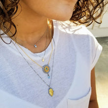 Two Tone Hamsa on Gold Chain - Alef Bet Jewelry by Paula