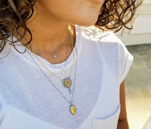 Mini Hamsa Lucky Silver Necklace - Alef Bet Jewelry by Paula