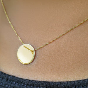 Round Disk Necklace for a Name in 14k Gold - Alef Bet Jewelry by Paula