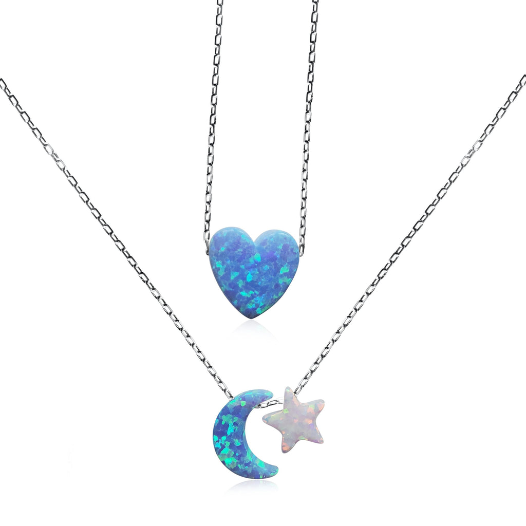 moon, heart and star layering necklace