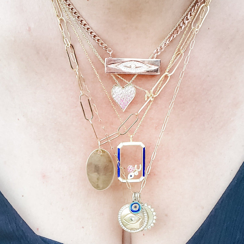 eye on layered necklaces