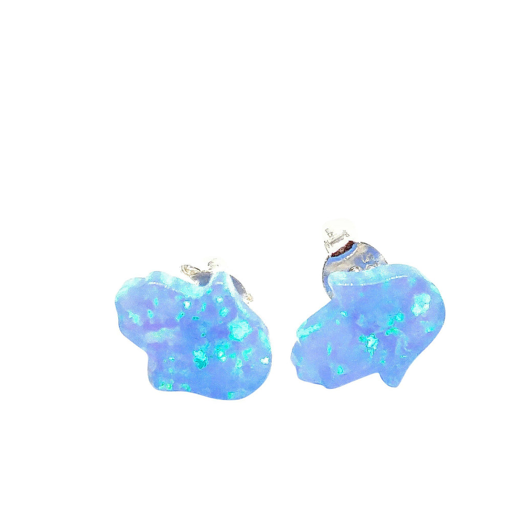 hamsa blue earrings