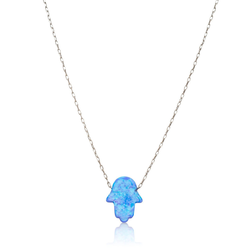 blue israeli opal hamsa necklace