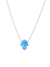 "Cornflower Blue Opal Hamsa Lucky Necklace 1/4"" in size - Alef Bet Jewelry by Paula"
