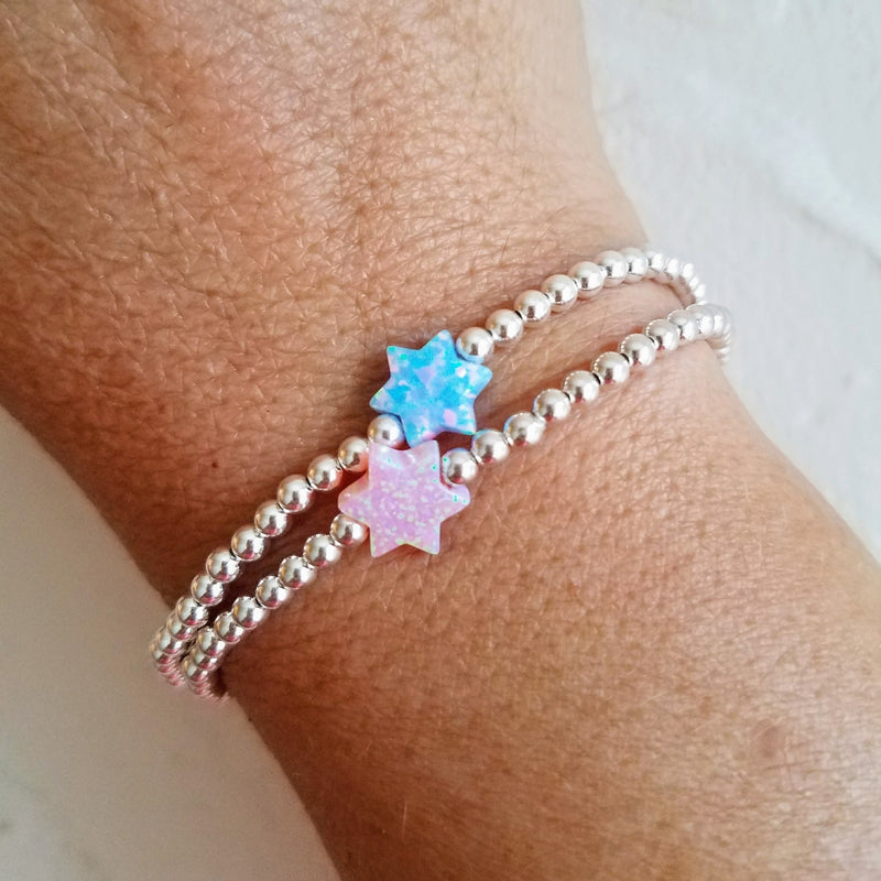 Opal Star of David Bracelet  on beads