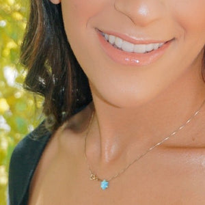 Opal Star of David Necklace - Alef Bet Jewelry by Paula