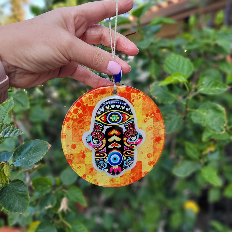 heart and evil eye hamsa amulet for home