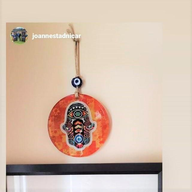 Orange Hamsa Glass Wall Hanging with Hearts for Love