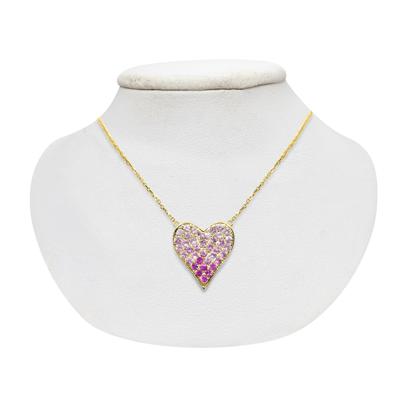 heart necklace with pink stones