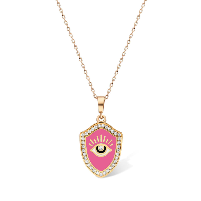 pink evil eye necklace