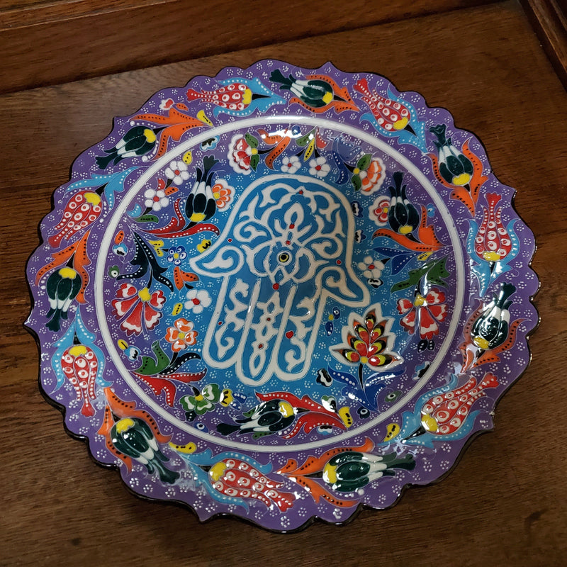 Purple and Blue Lucky Hamsa Hand Floral Decorative Plate
