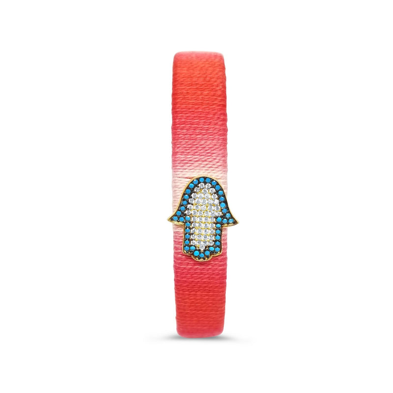 red and turquoise hamsa bangle