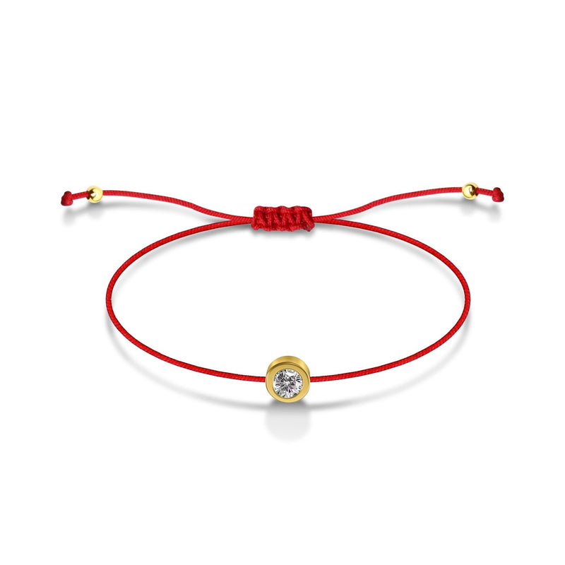 Red String of Fate Bracelet with Center Gemstone
