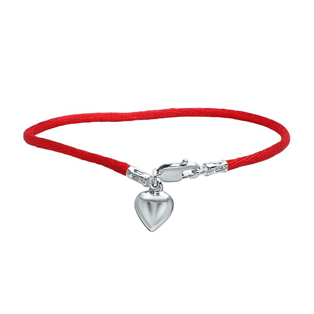 Puff Heart Charm on Protection Red Cord Bracelet