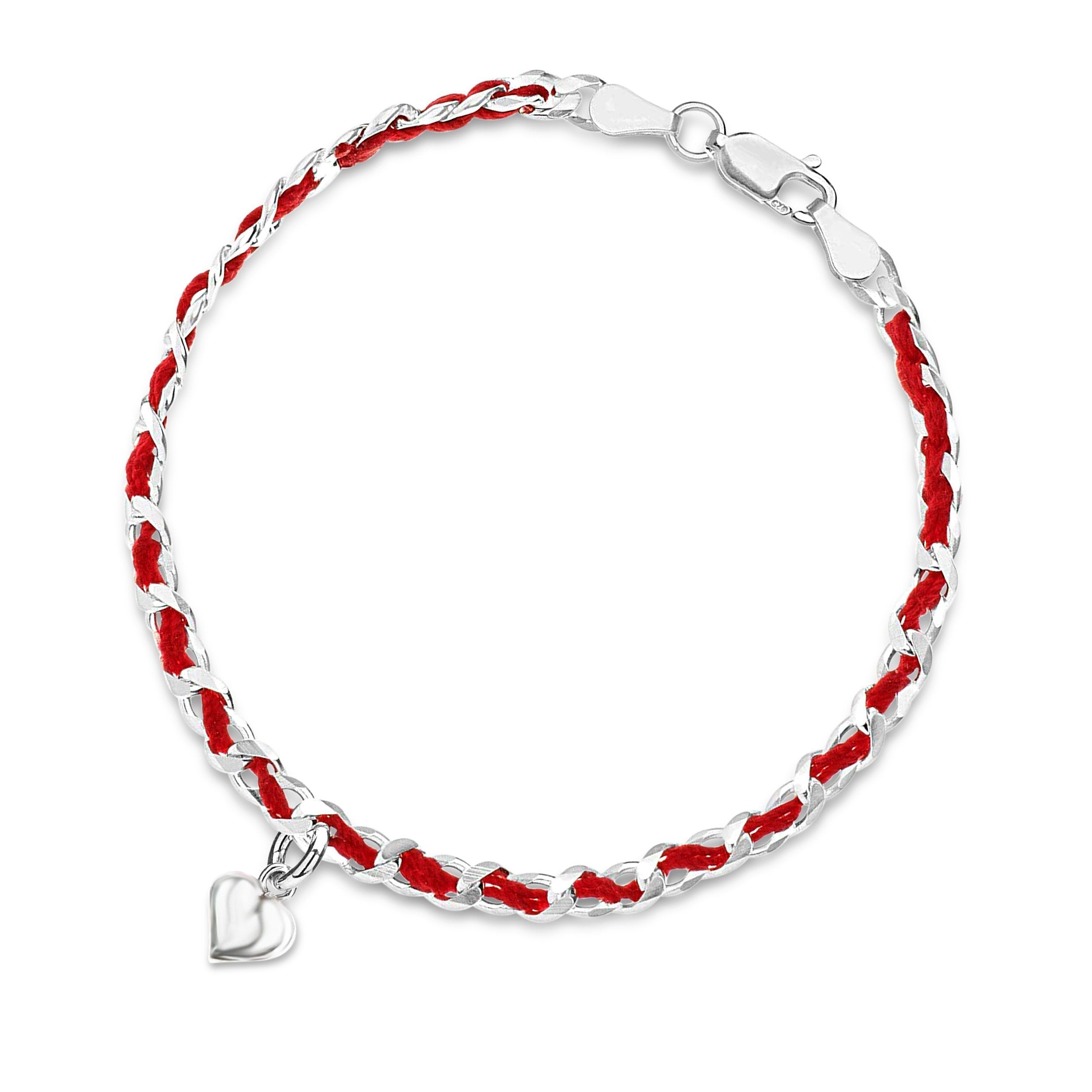 Red String Kaballah Love Bracelet with Heart in Silver