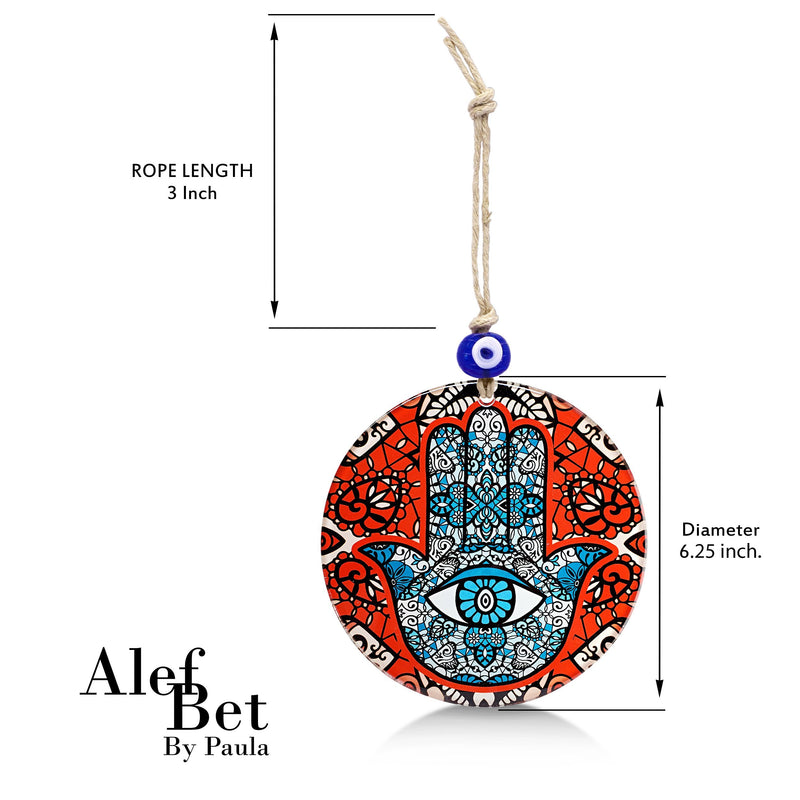 Red Hamsa Glass Wall Hanging Ornament with Evil Eye