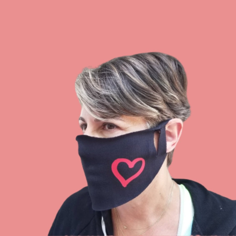 Facial Mask With Heart Image in Black