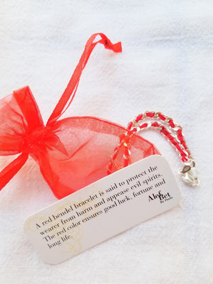Chai Hebrew Red String Bendel Bracelet - Alef Bet Jewelry by Paula