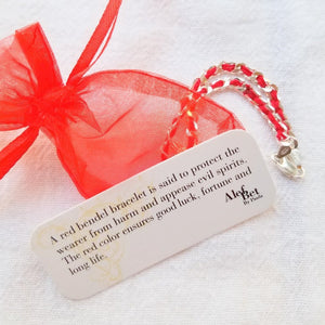 Eye Red String Bendel Bracelet - Alef Bet Jewelry by Paula
