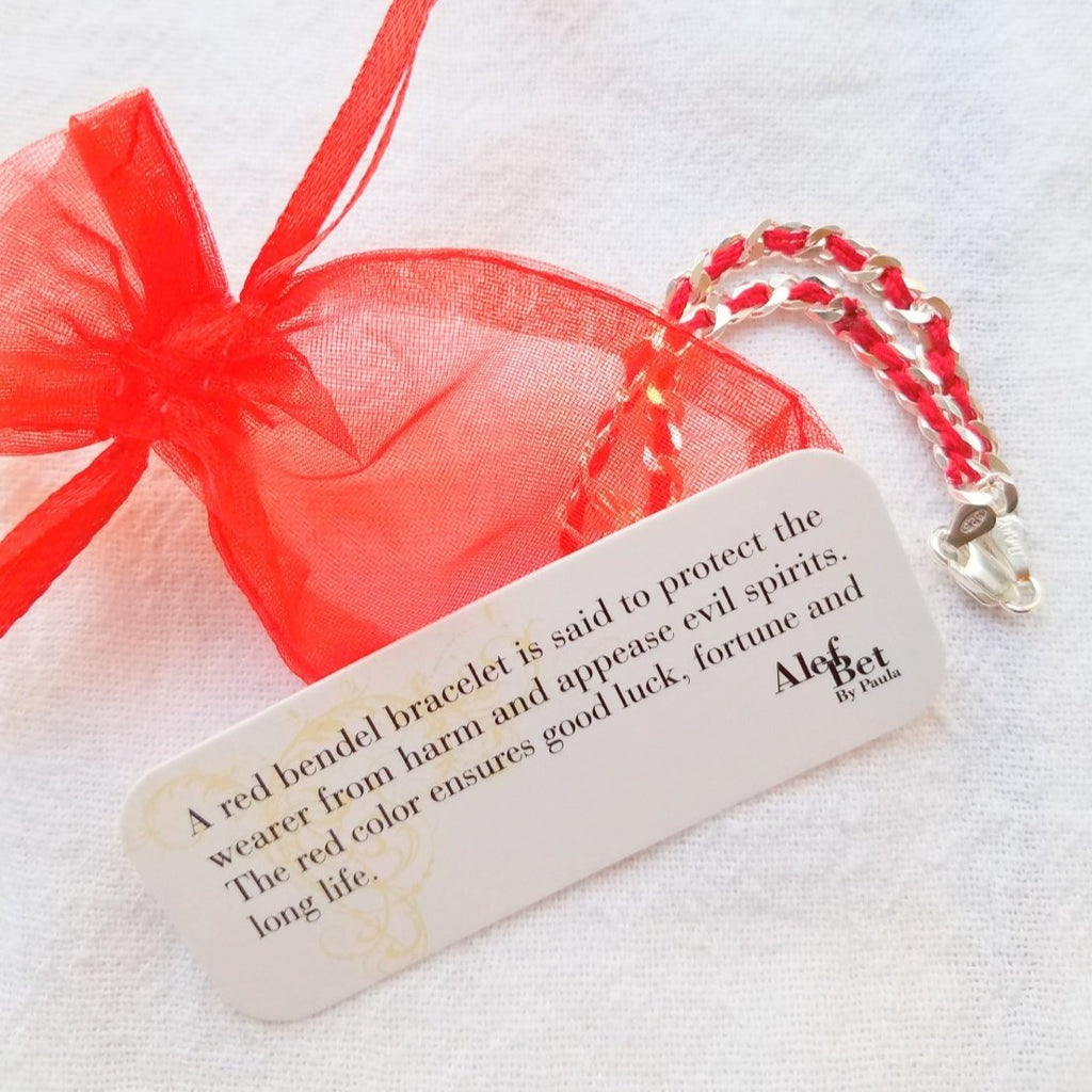 Tree of Life Red Bendel Bracelet - Alef Bet Jewelry by Paula