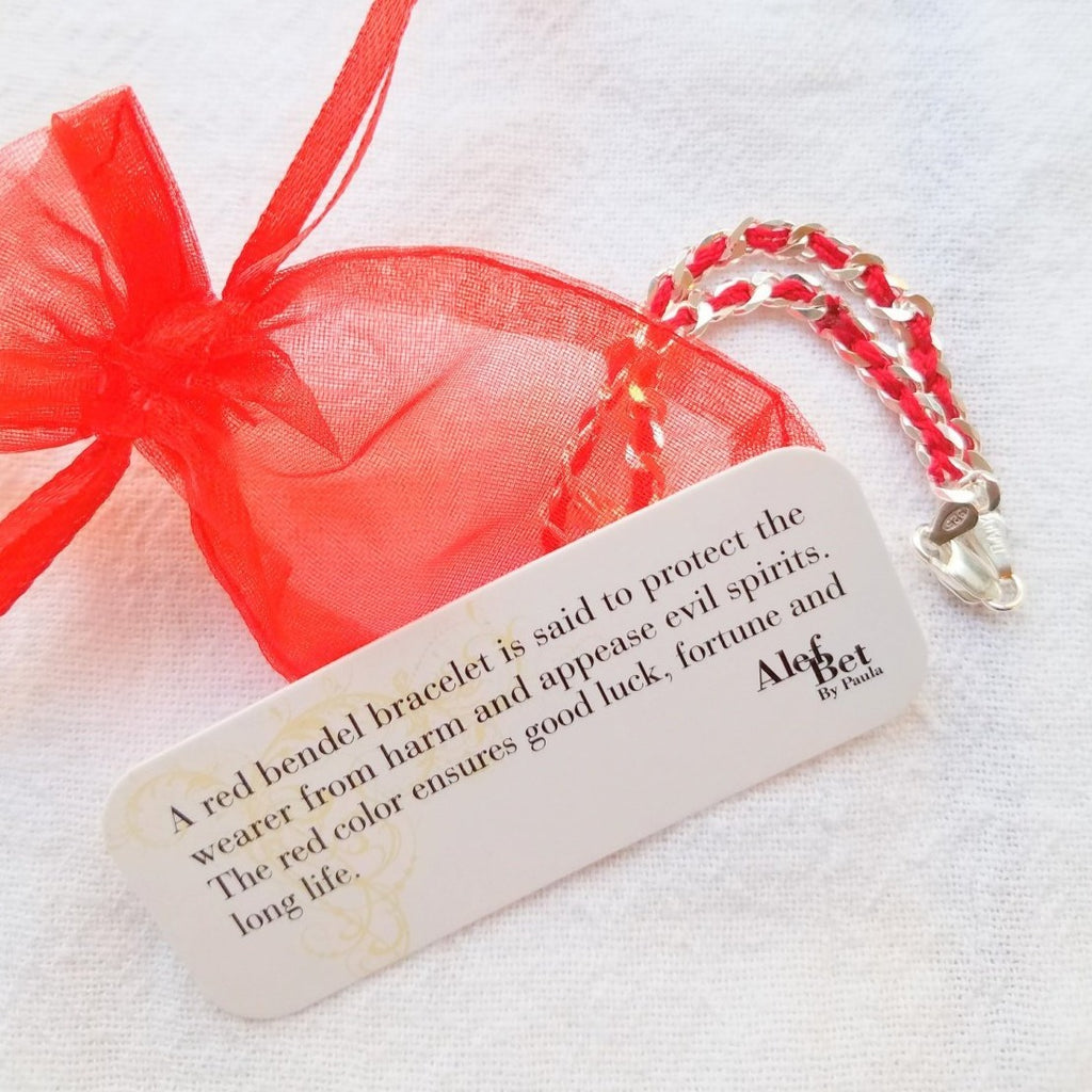 Heart Red String Bendel Bracelet - Alef Bet Jewelry by Paula