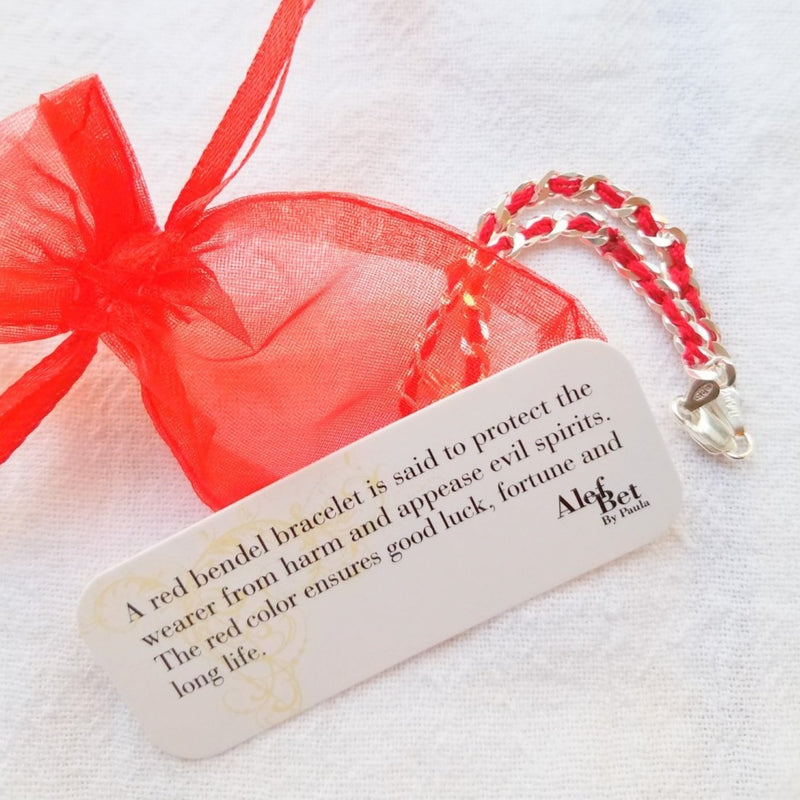 Jewish Star Red Bendel Bracelet - Alef Bet Jewelry by Paula