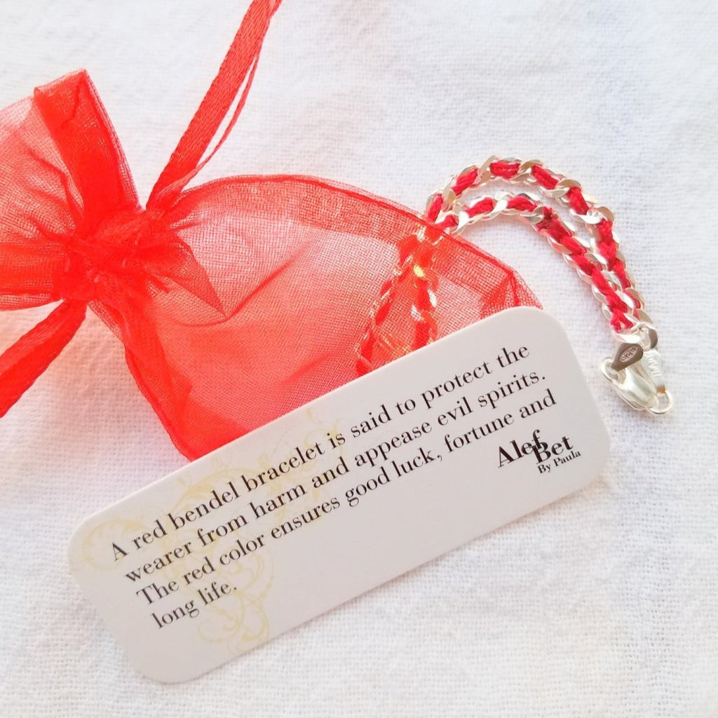 Chai Hebrew Red Bendel Bracelet - Alef Bet Jewelry by Paula