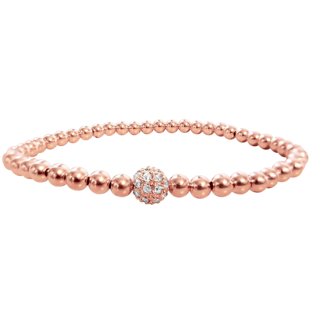 rose gold bead bracelet collection