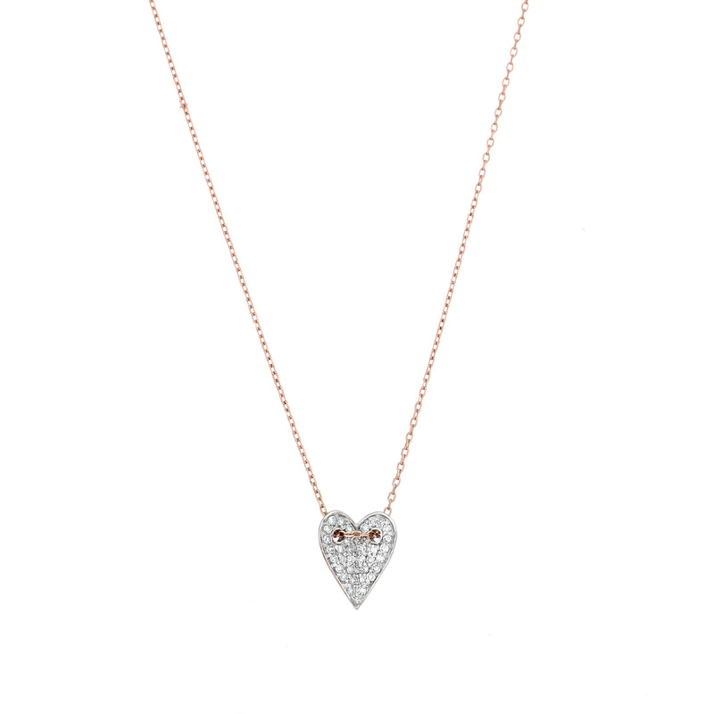 diamond heart in rose gold