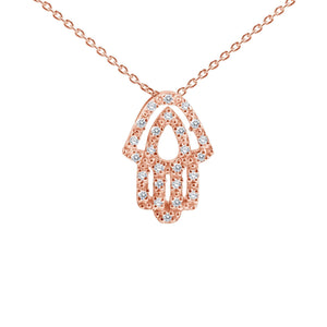 hamsa hand necklace rose gold