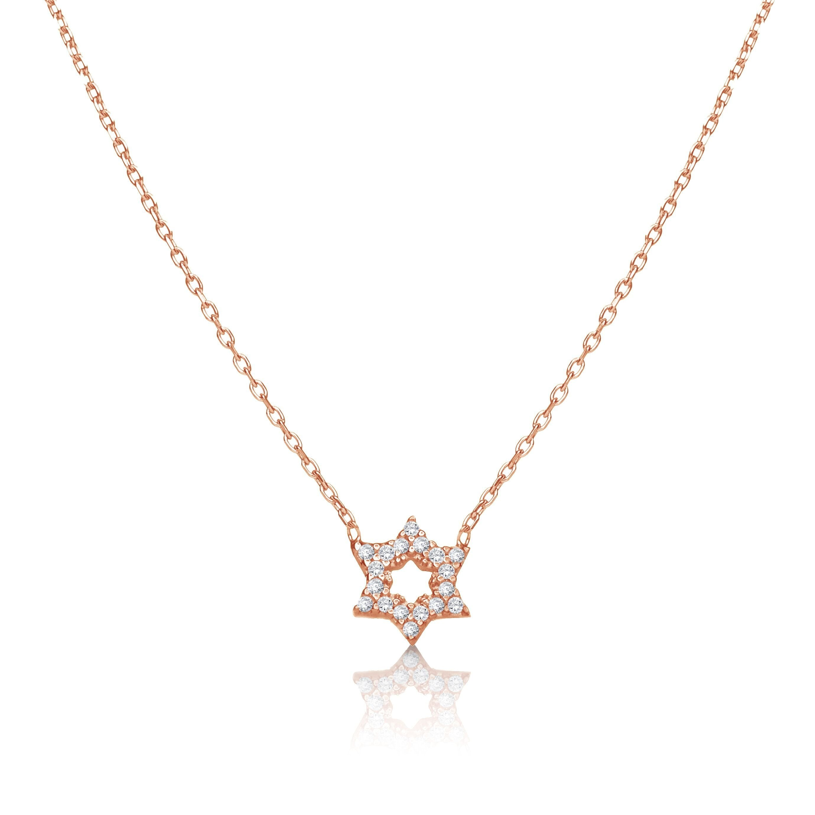 Sterling Jewish Star with CZ Necklace