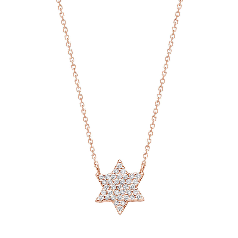Sparkling Jewish Star Necklace - Alef Bet Jewelry by Paula