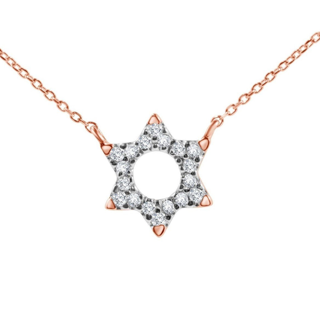 Jewish Star Pendant With Diamonds - Alef Bet Jewelry by Paula