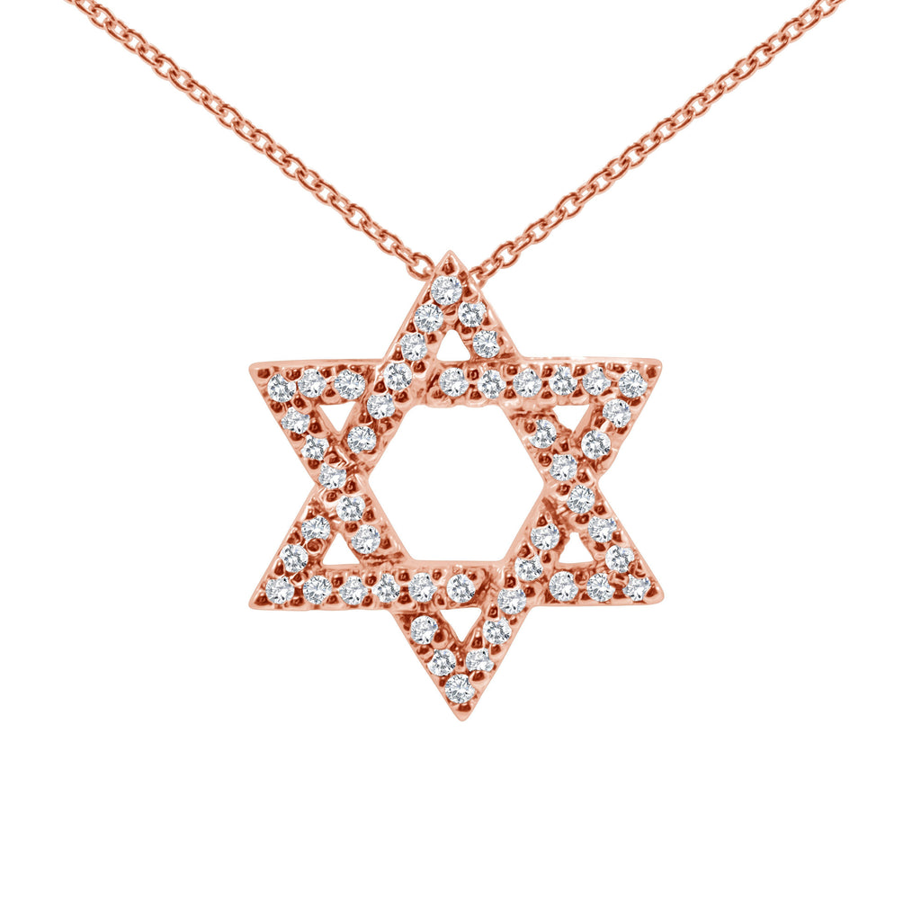 jewish star necklace in rose gold with diamonds