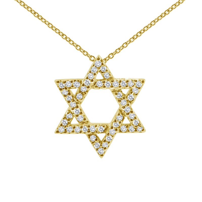 14k gold jewish star necklace