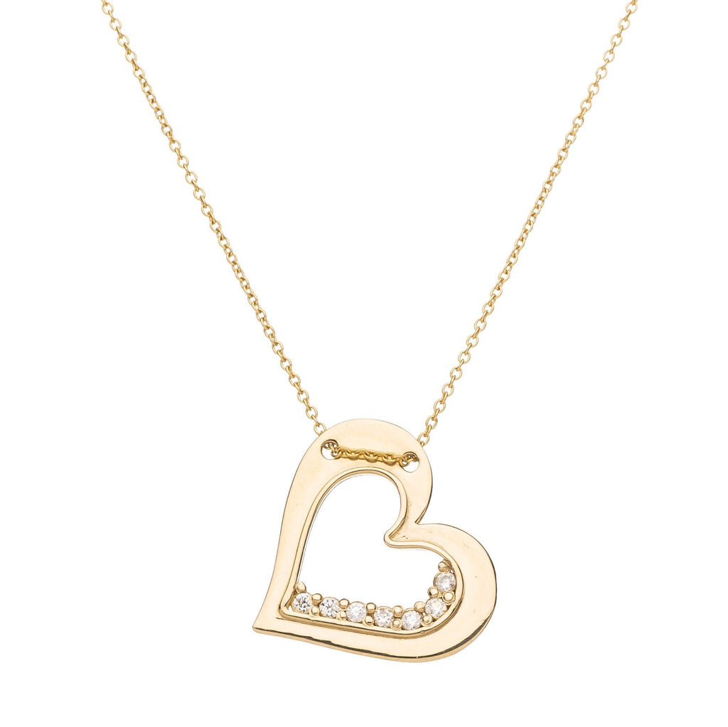 fallen heart necklace in gold