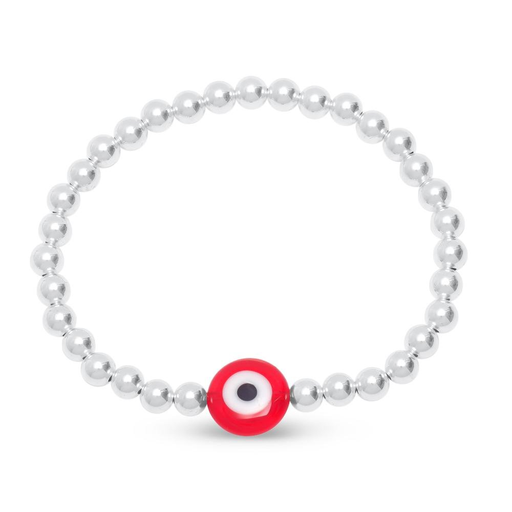 silver and red eye bracelet