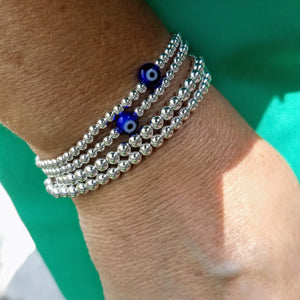 Silver 3mm Beaded Bracelet - Alef Bet Jewelry by Paula