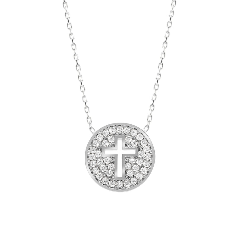 cross in silver with sparkling stones