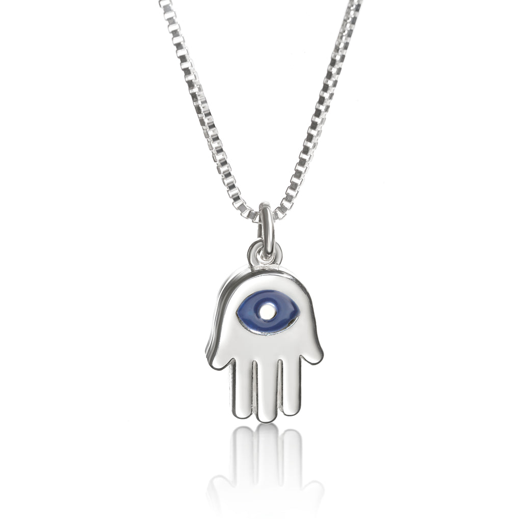 SILVER HAMSA CHARM WITH EVIL EYE